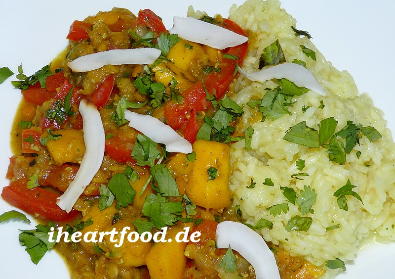 Linsen-Mango-Curry mit Reis